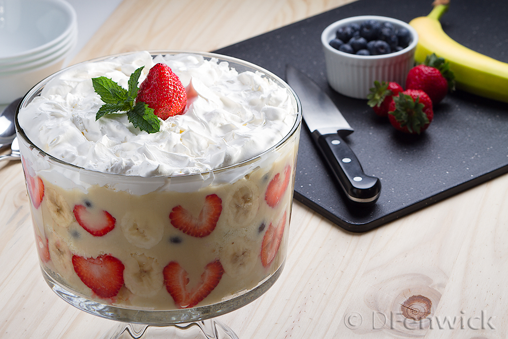 Banana, strawberry, blueberry trifle by D Fenwick, http://dfenwickphotography.com