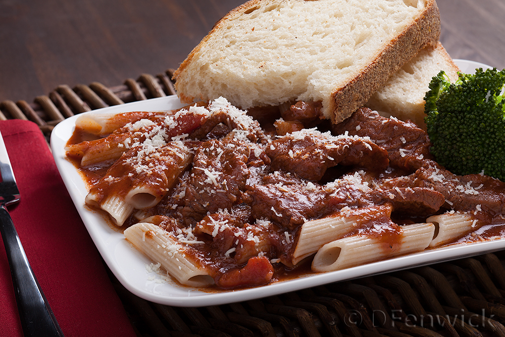 Beef with Pasta in Red Sauce by D Fenwick, http://dfenwickphotography.com